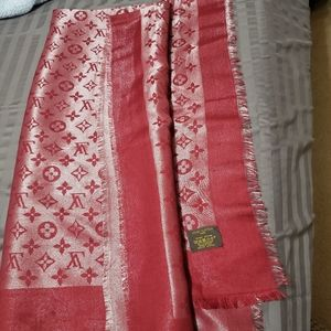 Louis Vuitton scarf 54x54 red wine silver reflects